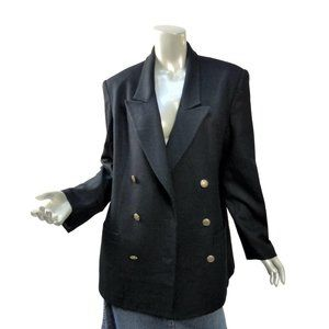 Vintage Black Oversized Black Blazer Double Breasted Gold Buttons Amber Stone